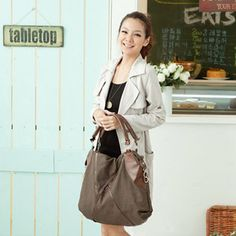 Stylish European Large Canvas Casual Shoulder Bags Brown For Women