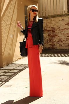 Maxi peplum skirt paired with a black leather jacket. beyond fierce.