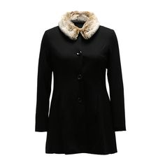 A coat made from black Ponte, shows off a fit & flare style with a faux fur collar. Fully lined with satin fabric, it features a detachable collar, a button up centre-front, and functional in-seam side pockets.