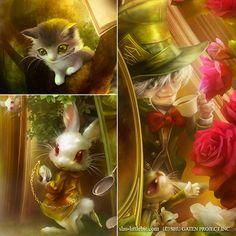 Cheshire Cat, White Rabbit, mad Hatter