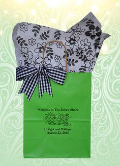 This green apple welcome bag accented in black is a gracious way to greet your out of town wedding guests when they arrive at their hotel. Fill with 2 bottles of water, 2 oranges, something sweet and something salty. These sturdy bags can hold more than you think. See more at www.favorsyoukeep.com or call 512.323.0600. Since 1987! #welcomebagsbeachwedding #destinationweddinggiftbags
