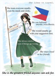Except that I don't like to travel Hetalia Philippines, Philippines Country, Filipino Memes, Asian Humor, Hetalia Headcanons, Hetalia Characters, Country Art, She Likes, Great Friends