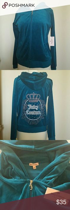 Juicy Couture Velour Hoodie Brand new Hoodie with cute detail on back. Color is like a Turquoise/Teal. 78% Cotton 22% Polyester Juicy Couture Sweaters