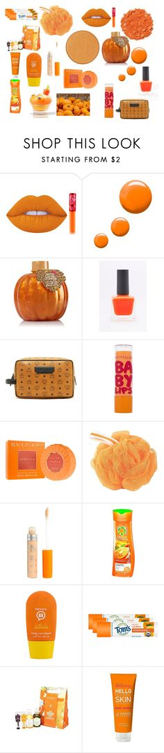 """pumpkin king"" by watchingthestarsdrown ❤ liked on Polyvore featuring beauty, Illamasqua, Lime Crime, Topshop, MCM, Maybelline, Bulgari, The Bathery, Rimmel and Herbal Essences"