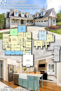 Plan Country House Plan with Optional Bonus Room Above Garage Dream House Plans, House Floor Plans, My Dream Home, Room Above Garage, House Blueprints, Sims House, Modular Homes, House Layouts, House Goals