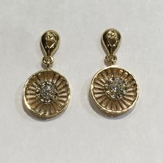These c1940 14k two tone diamond drops are perfect for every day wear. $695. Call to purchase. #retro #diamondearrings #sunburst #goldearrings #gold #sparkle #wearsparkleseveryday #gilt #giltjewelry