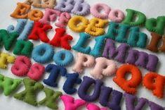 Stuffed Felt Alphabet Letter Set in a Drawstring Bag - Mixed Upper and Lower Case Set. love the magnetic ones. Felt Crafts, Diy Crafts, Felt Letters, Alphabet Letters, Learning The Alphabet, Learning Toys, Letter Set, Busy Book, Bird Design