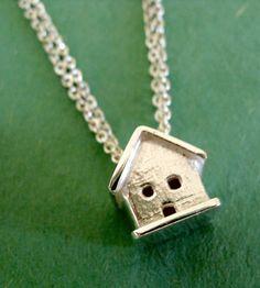 Tiny House Silver Necklace