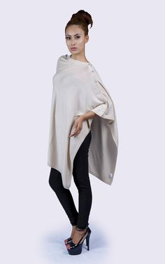 Silk/Cashmere button poncho