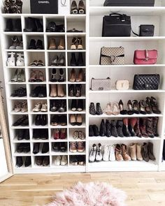 Shoe Rack and Shoe… Bedroom Storage Ideas For Clothes, Bedroom Storage For Small Rooms, Closet Ideas, Closet Shoe Storage, Diy Shoe Rack, Shoe Racks, Bag Closet, Purse Storage, Shoe Rack In Closet