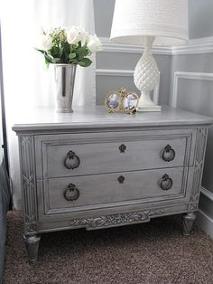 Furniture Treatment - I love this look but after reading how it was done I realize it's not for me.  Pretty though.