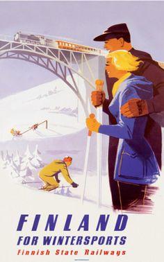 Poster by Jaska Hänninen (1921-1999), 1952, Finland for Wintersports.