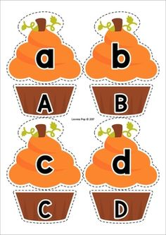 Thanksgiving Literacy Centers for Kindergarten. Upper and lower case pumpkin cupcake letter match.