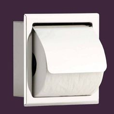 recessed stainless stainless steel toilet tissue holder with lid