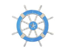 Rustic Light Blue And White Decorative Ship Wheel With Starfish 18""