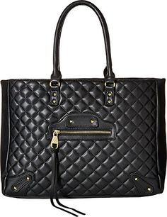 Steve Madden Women's Bfancy Quilted Lamb Tote w/ Stud/Zip Front Detail