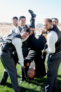Great way to get rid of wedding jitters just turn the groom up side down