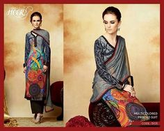 "Grey with multi coloured salwar kameez set  Visit fb page "" imki trendz "" for more details"