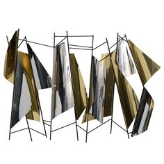 Signed Curtis Jere Geometric Forms Wall Sculpture | From a unique collection of antique and modern wall-mounted sculptures at https://www.1stdibs.com/furniture/wall-decorations/wall-mounted-sculptures/