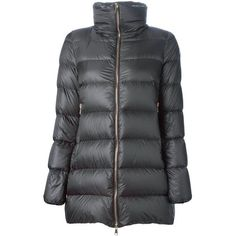 Moncler 'Torcy' padded coat ($1,030) ❤ liked on Polyvore featuring outerwear, coats, grey, funnel neck coat, padded coat, long sleeve coat, gray coat and quilted coat