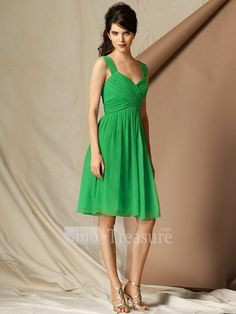 Light Green V-neck Sash Column Satin/Chiffon Knee-length Bridesmaid Dress