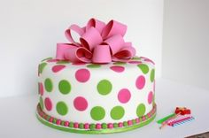 Pink & Green Baby Shower Cake By leelabean on CakeCentral.com