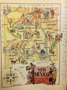 New Mexico Print New Mexico Map Travel Map Decor 1950s Vintage Map Art Nm Wall Decor State Map Print Baby Room Wall Art