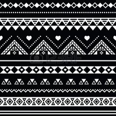 Aztec seamless pattern tribal black and white background Stock Vector