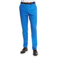 Zanella Parker Cotton-Stretch Flat-Front Trousers ($340) ❤ liked on Polyvore featuring men's fashion, men's clothing, men's pants, men's dress pants, blue, mens zip off pants, mens flat front dress pants, mens flat front pants, mens blue dress pants and mens elastic waistband pants