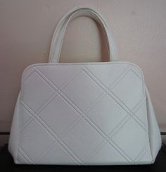White Pocketbook with Diamond stitching by heydarlin on Etsy, $24.00