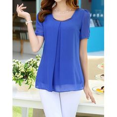 Wholesale Simple Style Scoop Neck Solid Color Short Sleeve Chiffon Blouse For Women Only $4.99 Drop Shipping | TrendsGal.com