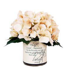 """Creative Displays 9"""" Cream Hydrangea Silk Floral In Quote Embellished... ($55) ❤ liked on Polyvore featuring home, home decor, floral decor, flowers, decor, silk flower bouquets, silk hydrangea bouquet, hydrangea fake flowers, fabric flowers and fake hydrangea arrangement"""