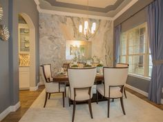 Ryland home. Love the dining space, color, molding, placement.