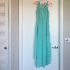 Aqua chiffon maxi dress from fiore boutique Aqua chiffon maxi dress from fiore boutique. Never worn. Perfect condition. Perfect for those summer beach pictures. Lush Dresses Maxi