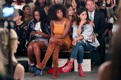 Shiona Turini (L) and singer Solange Knowles attend the Zimmermann fashion show during Spring 2016 New York Fashion Week at Art Beam on September 11, 2015 in New York City.