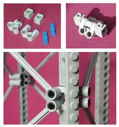 Closeup of the angled joints for my Lego Technic radial truss design.