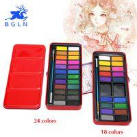 Bgln 18/24 Colores Caja de la Lata de Pintura de Acuarela Con Pincel Portátil Soild Tinta Acuarela Pinta Para Artista Escuela Estudiante Aquarela