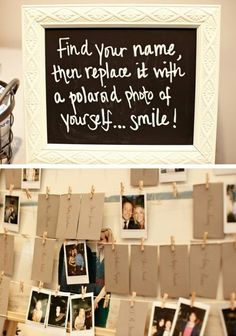 Love the idea of having polaroid cameras and letting them do this! That way you have a picture of everyone!