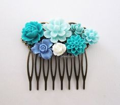 JEWELSALEM - Teal Wedding Hair Comb Aqua Turquoise Seafoam White Blue Bridal Headpiece Floral Flowers Comb Vintage Style Shabby Chic Bridesmaids Gift
