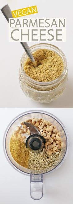 This vegan homemade parmesan cheese is nutty, chee. This vegan homemade parmesan cheese is nutty, cheesy, and delicious + is loaded with important vitamins and minerals for a cheese that everyone will l. Vegan Cheese Recipes, Vegan Parmesan Cheese, Vegan Sauces, Vegan Foods, Vegan Dishes, Dairy Free Recipes, Raw Food Recipes, Vegetarian Recipes, Vegetarian Cheese