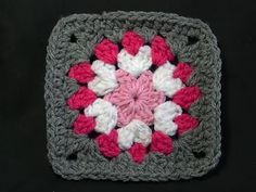 Not So Granny Square, free pattern by bobwilson123. The 2nd round (white) looks like little hearts :-) . . . . ღTrish W ~ http://www.pinterest.com/trishw/ . . . . #crochet #motif