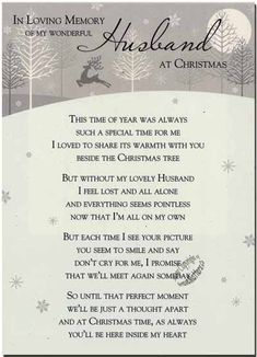 missing my husband at christmas | C1-09 - In Loving Memory of my Wonderful Husband at Christmas.