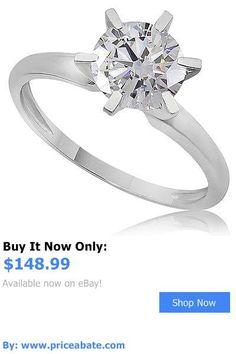 Wedding rings: 1.55 Ct Round Cut 14K White Gold Solitaire Engagement Wedding Ring BUY IT NOW ONLY: $148.99 #priceabateWeddingrings OR #priceabate