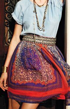 anthropologie scarf print skirt + chambray blouse