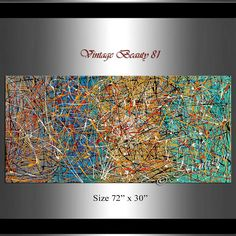 Jackson Pollock style Drip Art Red Teal Painting extra large paintings abstract art Modern Wall Artwork oversize art canvas painting