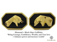 "Diamond + Black Onyx Sterling Silver Cufflinks, 18K Yellow Gold plated, Bull & Bear Model ""Bring Courage, Confidence, Wealth, and True love + Enhance power and increase wealth"" *** Combine 2 Gemstone Powers to double your LUCK ***"