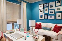Bright blue home office with gallery wall | Armonia Decors
