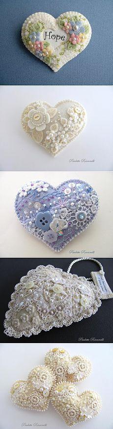 Текстильные сердца ко дню Святого Валентина.