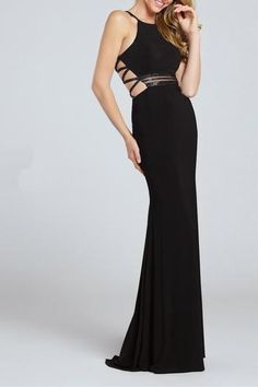 134964d0052 Prom Dresses 2017 - Ellie Wilde for Mon Cheri - black jersey prom dress  with open back and multiple criss-cross straps - Style No.