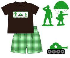 Brown Smocked Army Men T-Shirt & Green Gingham Shorts